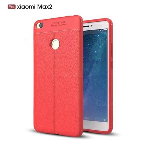 Luxury Auto Focus Litchi Texture Silicone TPU Back Cover for Xiaomi Mi Max 2 - Red