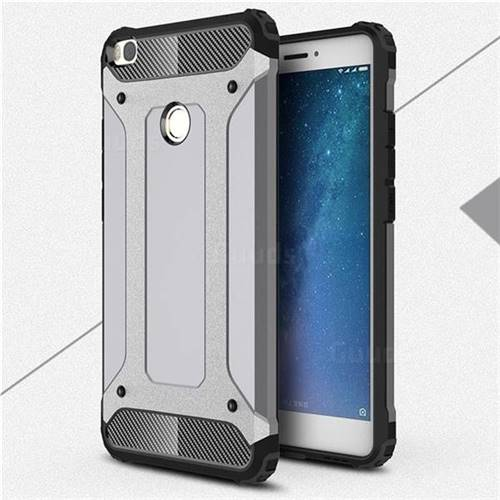 King Kong Armor Premium Shockproof Dual Layer Rugged Hard Cover for Xiaomi Mi Max 2 - Silver Grey