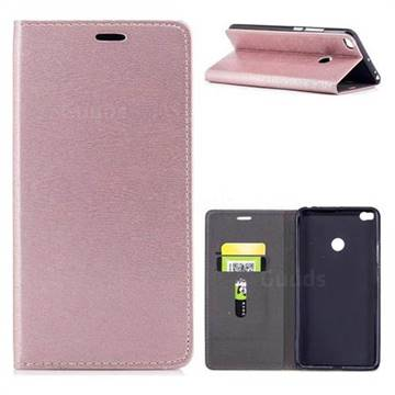 Tree Bark Pattern Automatic suction Leather Wallet Case for Xiaomi Mi Max 2 - Rose Gold