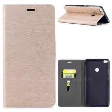 Tree Bark Pattern Automatic suction Leather Wallet Case for Xiaomi Mi Max 2 - Champagne Gold