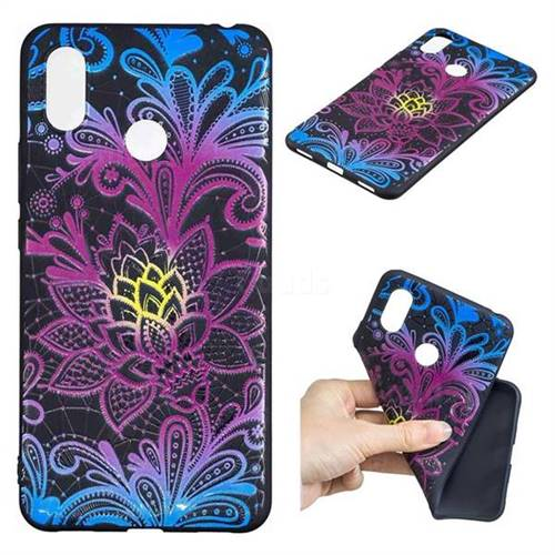 Colorful Lace 3D Embossed Relief Black TPU Cell Phone Back Cover for Xiaomi Mi Max 3