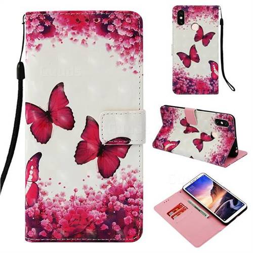 Rose Butterfly 3D Painted Leather Wallet Case for Xiaomi Mi Max 3