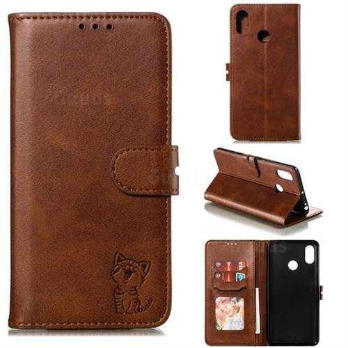 Embossing Happy Cat Leather Wallet Case for Xiaomi Mi Max 3 - Brown