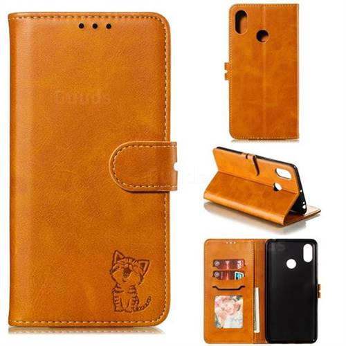 Embossing Happy Cat Leather Wallet Case for Xiaomi Mi Max 3 - Yellow