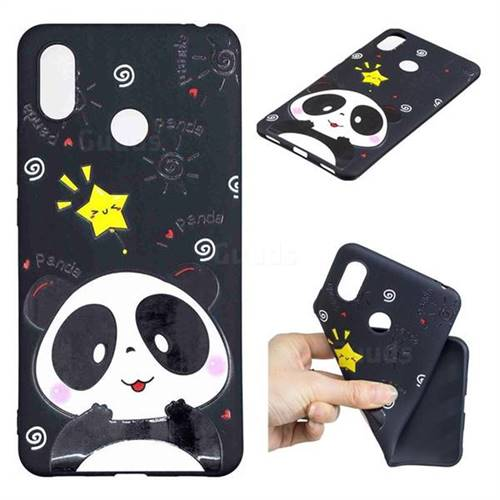 Cute Bear 3D Embossed Relief Black TPU Cell Phone Back Cover for Xiaomi Mi Max 3 Pro