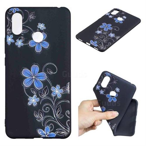 Little Blue Flowers 3D Embossed Relief Black TPU Cell Phone Back Cover for Xiaomi Mi Max 3 Pro