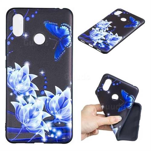 Blue Butterfly 3D Embossed Relief Black TPU Cell Phone Back Cover for Xiaomi Mi Max 3 Pro
