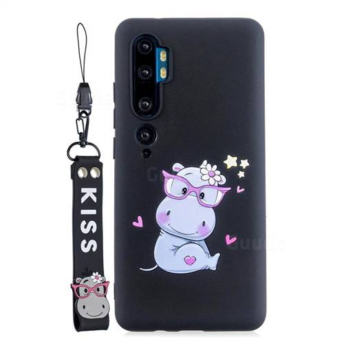 Black Flower Hippo Soft Kiss Candy Hand Strap Silicone Case for Xiaomi Mi Note 10 / Note 10 Pro / CC9 Pro
