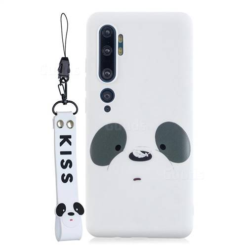 White Feather Panda Soft Kiss Candy Hand Strap Silicone Case for Xiaomi Mi Note 10 / Note 10 Pro / CC9 Pro