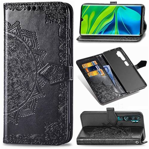 Embossing Imprint Mandala Flower Leather Wallet Case for Xiaomi Mi Note 10 / Note 10 Pro / CC9 Pro - Black
