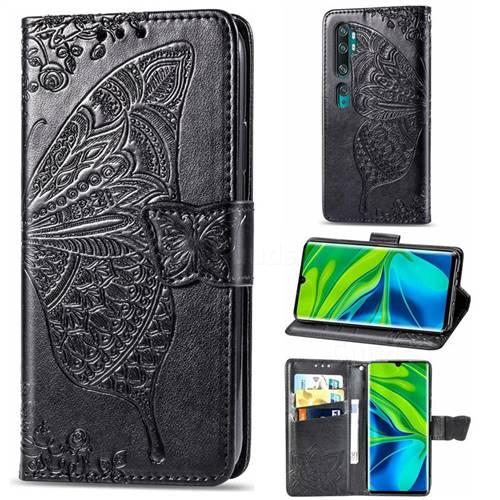 Embossing Mandala Flower Butterfly Leather Wallet Case for Xiaomi Mi Note 10 / Note 10 Pro / CC9 Pro - Black