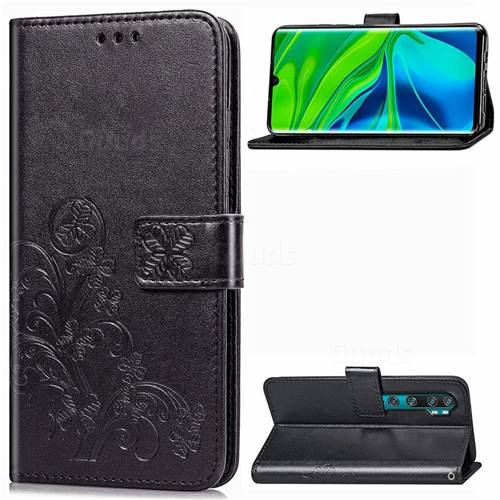 Embossing Imprint Four-Leaf Clover Leather Wallet Case for Xiaomi Mi Note 10 / Note 10 Pro / CC9 Pro - Black