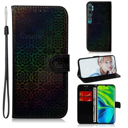 Laser Circle Shining Leather Wallet Phone Case for Xiaomi Mi Note 10 / Note 10 Pro / CC9 Pro - Black