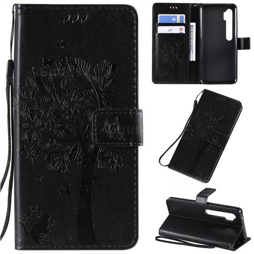 Embossing Butterfly Tree Leather Wallet Case for Xiaomi Mi Note 10 / Note 10 Pro / CC9 Pro - Black