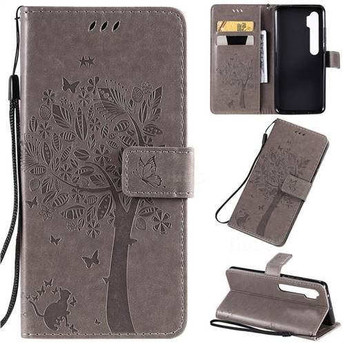 Embossing Butterfly Tree Leather Wallet Case for Xiaomi Mi Note 10 / Note 10 Pro / CC9 Pro - Grey