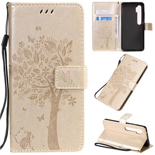 Embossing Butterfly Tree Leather Wallet Case for Xiaomi Mi Note 10 / Note 10 Pro / CC9 Pro - Champagne