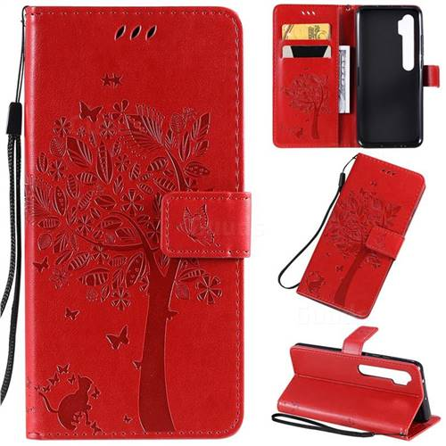 Embossing Butterfly Tree Leather Wallet Case for Xiaomi Mi Note 10 / Note 10 Pro / CC9 Pro - Red