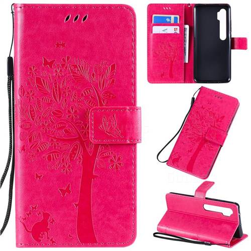 Embossing Butterfly Tree Leather Wallet Case for Xiaomi Mi Note 10 / Note 10 Pro / CC9 Pro - Rose