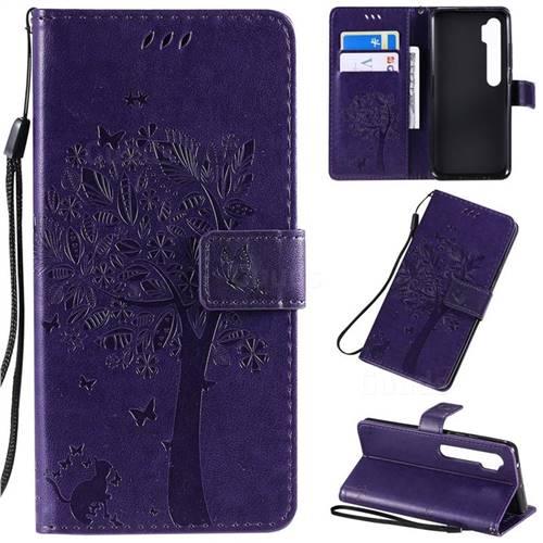 Embossing Butterfly Tree Leather Wallet Case for Xiaomi Mi Note 10 / Note 10 Pro / CC9 Pro - Purple