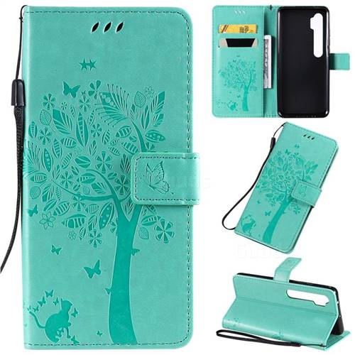 Embossing Butterfly Tree Leather Wallet Case for Xiaomi Mi Note 10 / Note 10 Pro / CC9 Pro - Cyan