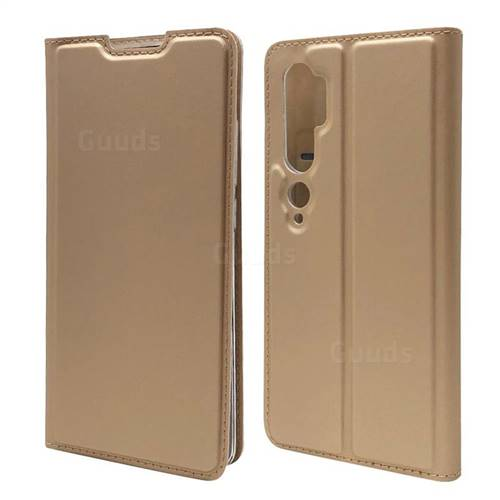Ultra Slim Card Magnetic Automatic Suction Leather Wallet Case for Xiaomi Mi Note 10 / Note 10 Pro / CC9 Pro - Champagne