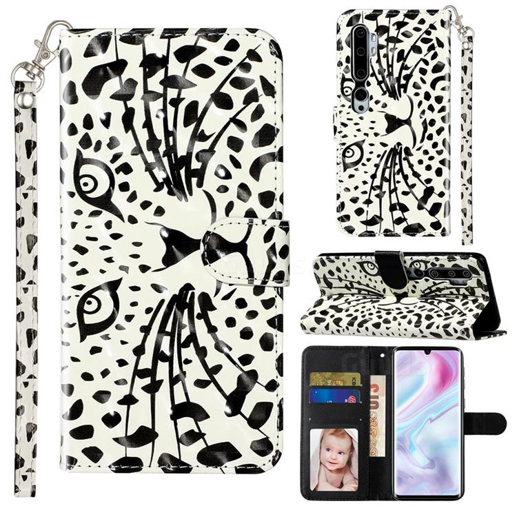 Leopard Panther 3D Leather Phone Holster Wallet Case for Xiaomi Mi Note 10 / Note 10 Pro / CC9 Pro