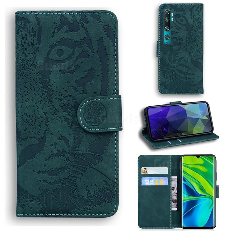Intricate Embossing Tiger Face Leather Wallet Case for Xiaomi Mi Note 10 / Note 10 Pro / CC9 Pro - Green