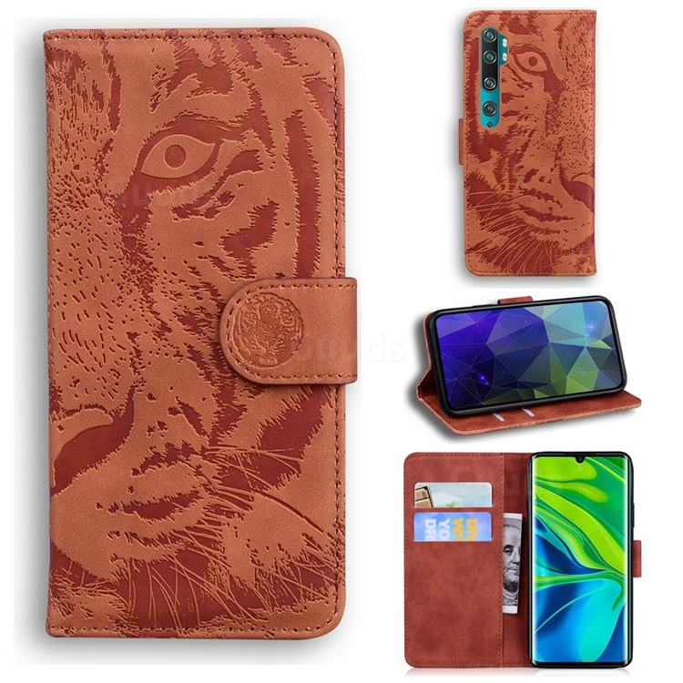 Intricate Embossing Tiger Face Leather Wallet Case for Xiaomi Mi Note 10 / Note 10 Pro / CC9 Pro - Brown