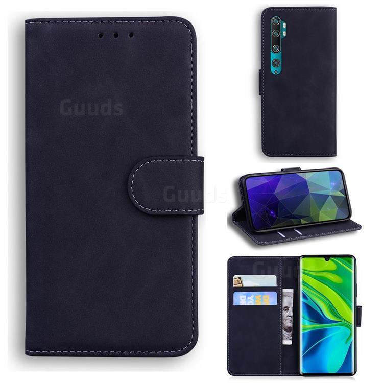 Retro Classic Skin Feel Leather Wallet Phone Case for Xiaomi Mi Note 10 / Note 10 Pro / CC9 Pro - Black