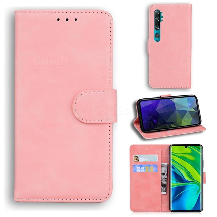 Retro Classic Skin Feel Leather Wallet Phone Case for Xiaomi Mi Note 10 / Note 10 Pro / CC9 Pro - Pink