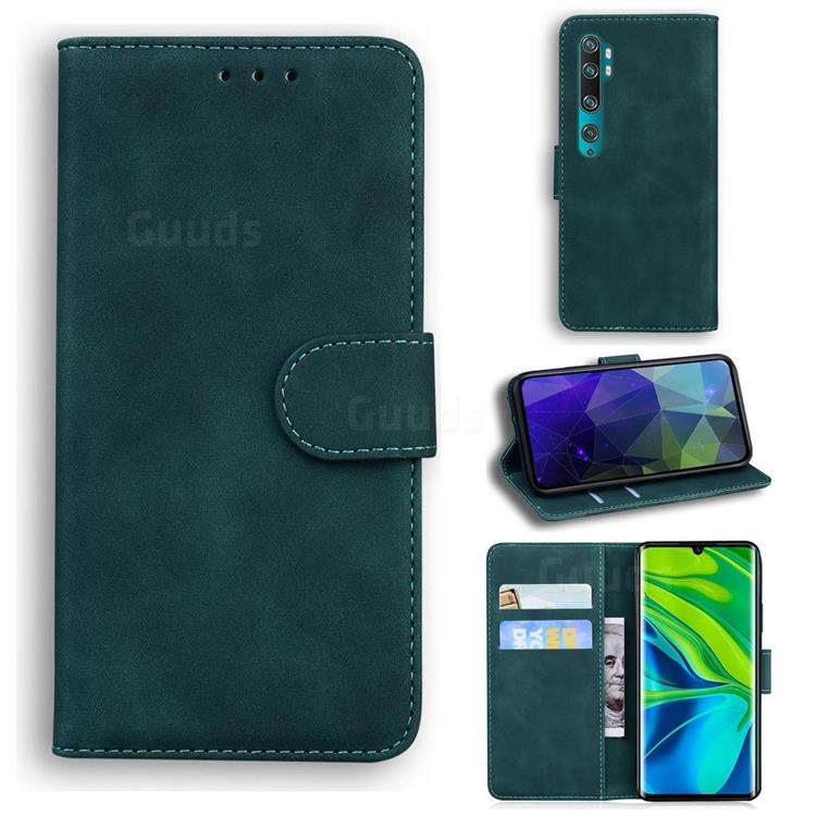 Retro Classic Skin Feel Leather Wallet Phone Case for Xiaomi Mi Note 10 / Note 10 Pro / CC9 Pro - Green