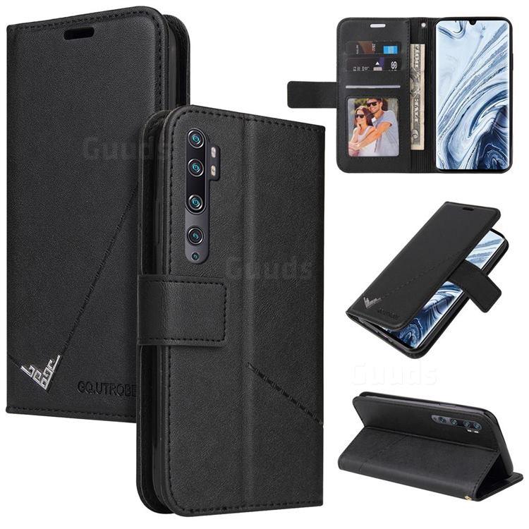 GQ.UTROBE Right Angle Silver Pendant Leather Wallet Phone Case for Xiaomi Mi Note 10 / Note 10 Pro / CC9 Pro - Black
