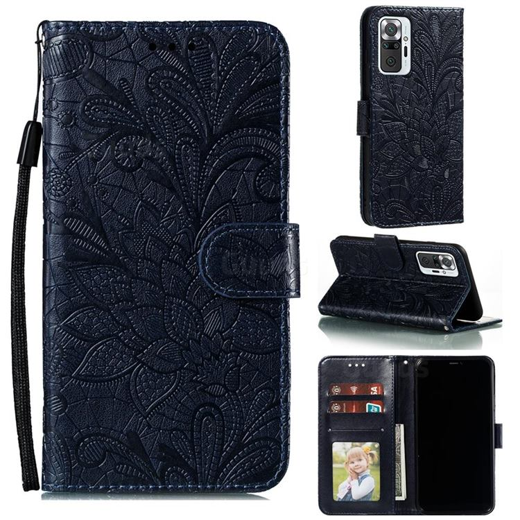 Intricate Embossing Lace Jasmine Flower Leather Wallet Case for Xiaomi Mi Note 10 / Note 10 Pro / CC9 Pro - Dark Blue