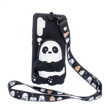 Cute Panda Neck Lanyard Zipper Wallet Silicone Case for Xiaomi Mi Note 10 Lite