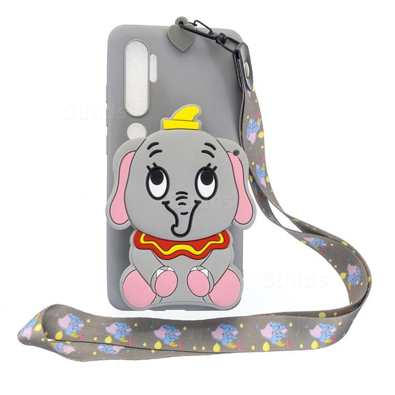 Gray Elephant Neck Lanyard Zipper Wallet Silicone Case for Xiaomi Mi Note 10 Lite