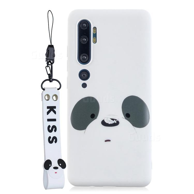 White Feather Panda Soft Kiss Candy Hand Strap Silicone Case for Xiaomi Mi Note 10 Lite