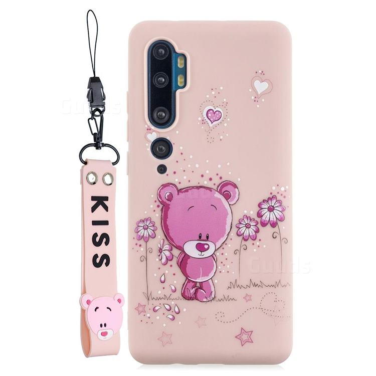 Pink Flower Bear Soft Kiss Candy Hand Strap Silicone Case for Xiaomi Mi Note 10 Lite