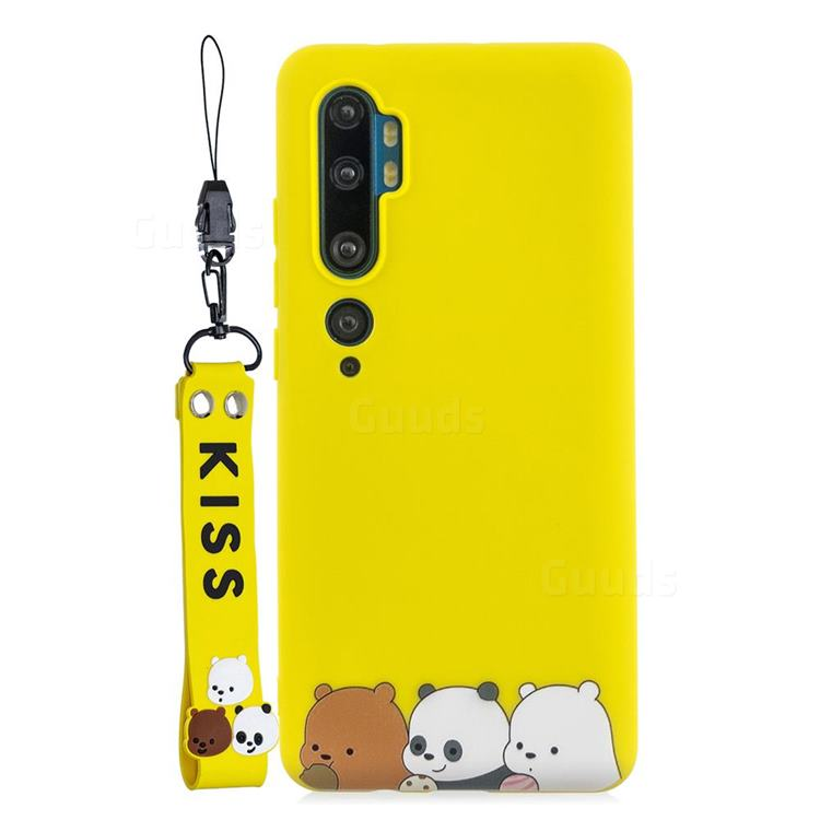 Yellow Bear Family Soft Kiss Candy Hand Strap Silicone Case for Xiaomi Mi Note 10 Lite