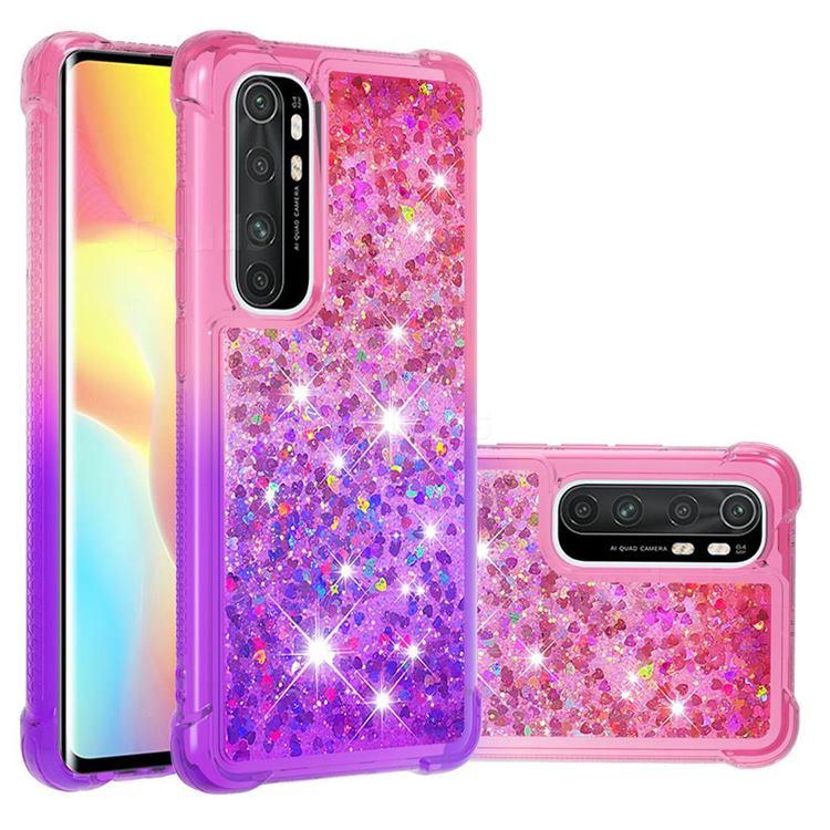 Rainbow Gradient Liquid Glitter Quicksand Sequins Phone Case for Xiaomi Mi Note 10 Lite - Pink Purple
