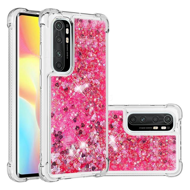 Dynamic Liquid Glitter Sand Quicksand TPU Case for Xiaomi Mi Note 10 Lite - Pink Love Heart