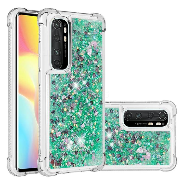 Dynamic Liquid Glitter Sand Quicksand TPU Case for Xiaomi Mi Note 10 Lite - Green Love Heart