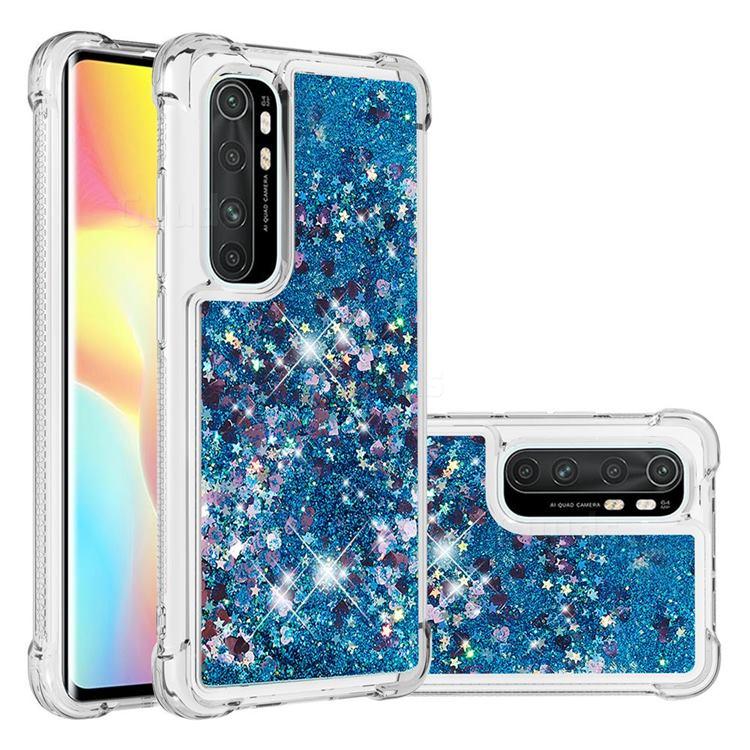 Dynamic Liquid Glitter Sand Quicksand TPU Case for Xiaomi Mi Note 10 Lite - Blue Love Heart