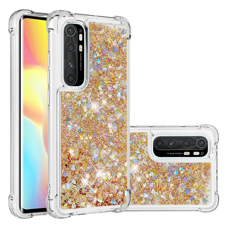 Dynamic Liquid Glitter Sand Quicksand TPU Case for Xiaomi Mi Note 10 Lite - Rose Gold Love Heart