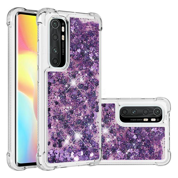 Dynamic Liquid Glitter Sand Quicksand Star TPU Case for Xiaomi Mi Note 10 Lite - Purple