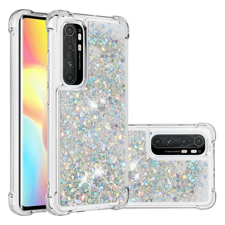 Dynamic Liquid Glitter Sand Quicksand Star TPU Case for Xiaomi Mi Note 10 Lite - Silver