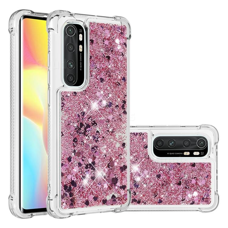 Dynamic Liquid Glitter Sand Quicksand Star TPU Case for Xiaomi Mi Note 10 Lite - Diamond Rose