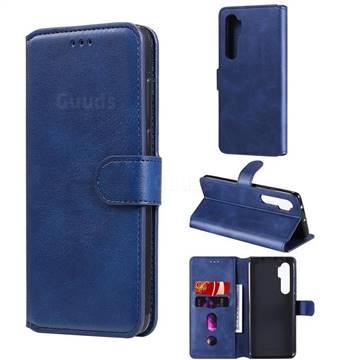 Retro Calf Matte Leather Wallet Phone Case for Xiaomi Mi Note 10 Lite - Blue