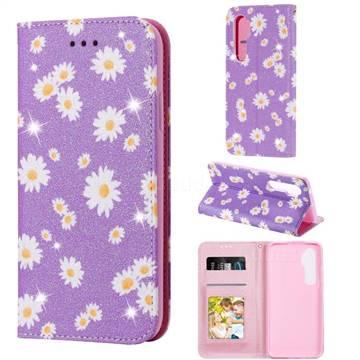 Ultra Slim Daisy Sparkle Glitter Powder Magnetic Leather Wallet Case for Xiaomi Mi Note 10 Lite - Purple