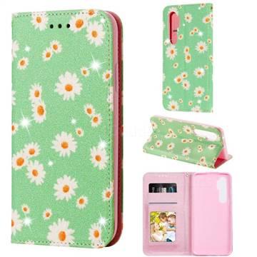 Ultra Slim Daisy Sparkle Glitter Powder Magnetic Leather Wallet Case for Xiaomi Mi Note 10 Lite - Green