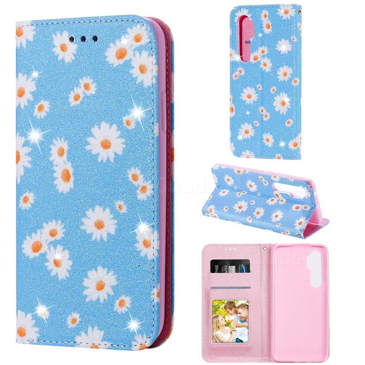 Ultra Slim Daisy Sparkle Glitter Powder Magnetic Leather Wallet Case for Xiaomi Mi Note 10 Lite - Blue